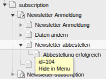 Screenshot des TYPO3 Seitenbaums nach dem Import der T3D-Datei