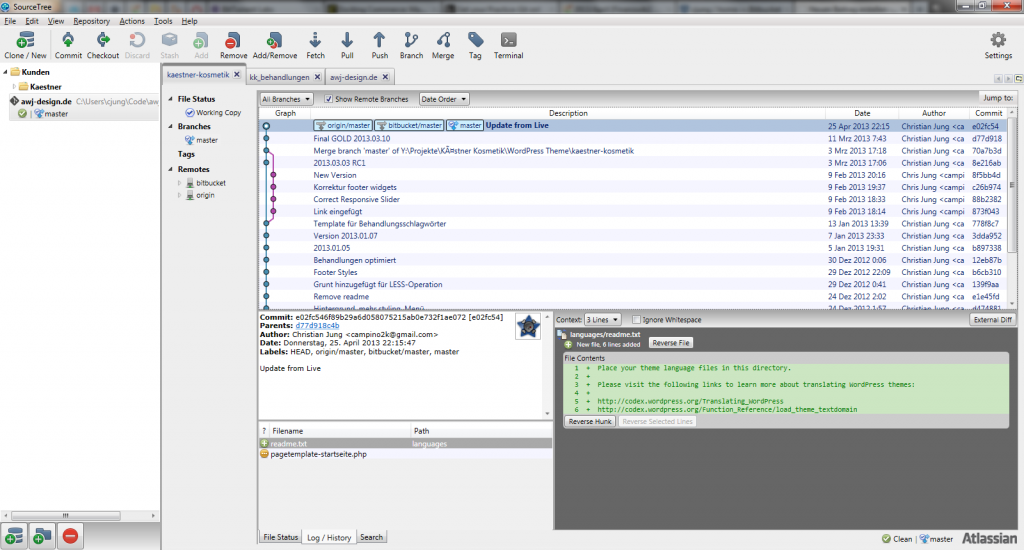 Screenshot von SourceTree