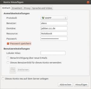 Screenshot der Pidgin Kontoeinstellungen für jabber.ccc.de