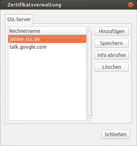 Screenshot Pidgin Zertifikatsverwaltung