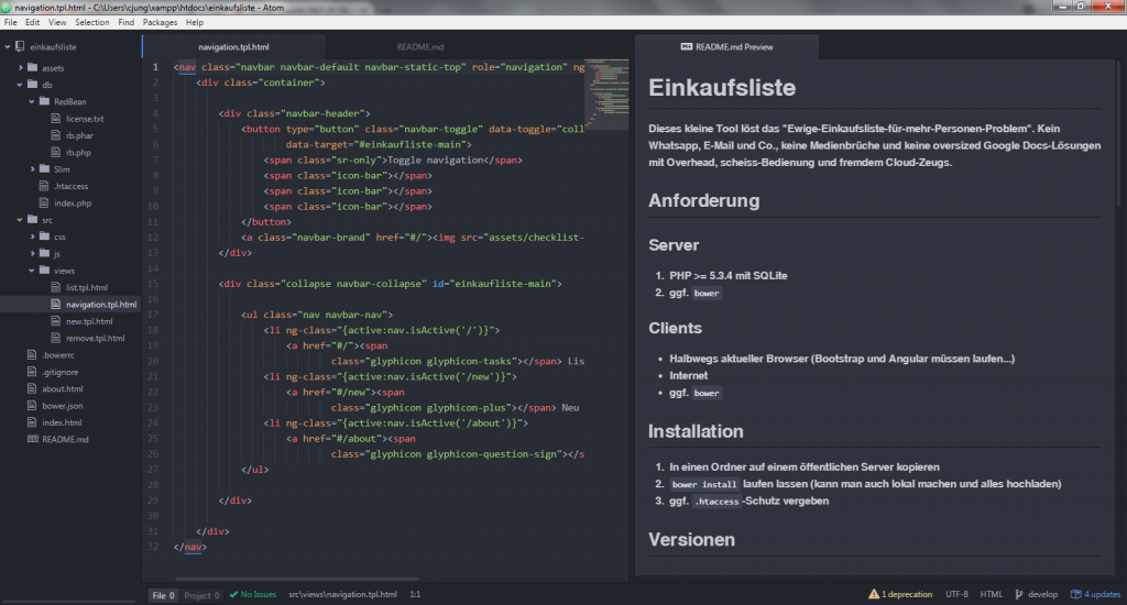 Screenshot Atom Editor mit Markdown Preview
